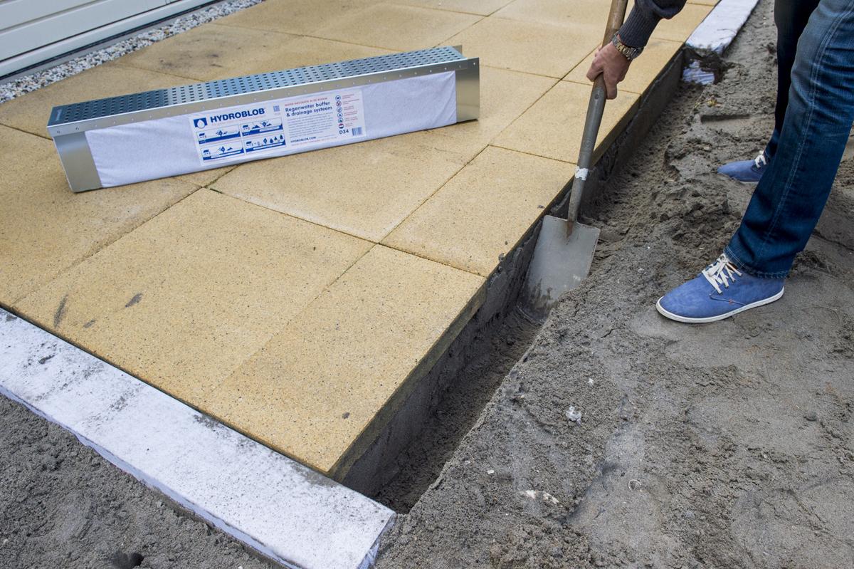Hydroblob voor het bufferen en draineren van oppervlaktewater for Drainage autour d une terrasse